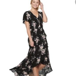AMERICAN RAG JUNIOR'S MAXI HI-LO PRINTED DRESS